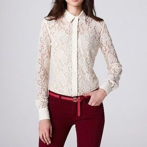 Lucky Brand Long Sleeve Button Down Lace Blouse